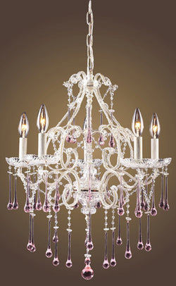 ELK Lighting Lighting 4002-5Rs Five Light Chandelier In Antique White And Rose Crystal - ELKLightingCenter