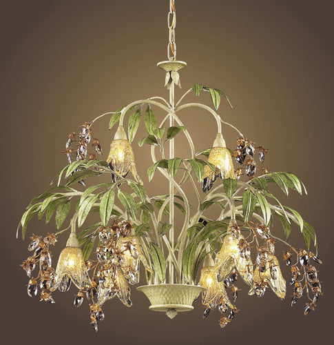 ELK Lighting Lighting 86054 Eight Light Chandelier In Seashell And Amber Glass - ELKLightingCenter