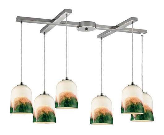 ELK Lighting Earthflows/Winter Evergreen 6- Light Pendant In Satin Nickel - 10219/6WE - ELKLightingCenter