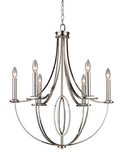 ELK Lighting Lighting 10121-6 Dione Six Light Chandelier In Polished Nickel - ELKLightingCenter