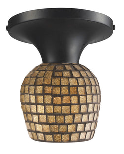 ELK Lighting Celina Celina 1-Light Semi-Flush In Dark Rust And Gold Leaf Glass - 10152/1DR-GLD - ELKLightingCenter