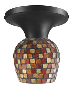 ELK Lighting Celina Celina 1-Light Semi-Flush In Dark Rust And Multi Fusion Glass - 10152/1DR-MLT - ELKLightingCenter