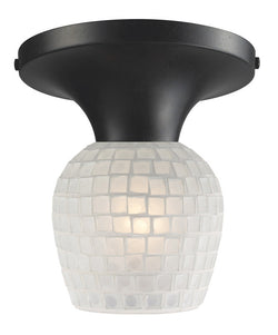 ELK Lighting Celina Celina 1-Light Semi-Flush In Dark Rust And White Glass - 10152/1DR-WHT - ELKLightingCenter