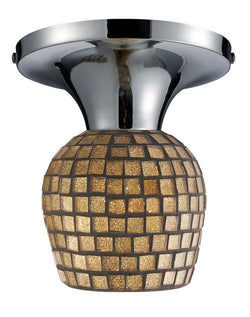 ELK Lighting Celina Celina 1-Light Semi-Flush In Polished Chrome And Gold Leaf Glass - 10152/1PC-GLD - ELKLightingCenter