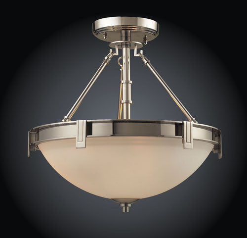 ELK Lighting 1623-3 Three Light Semi-Flush In Pokished Nickel - ELKLightingCenter