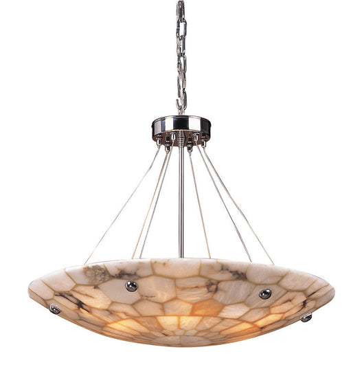 ELK Lighting Spanish Mosaic 6 Light Pendant In Polished Chrome And Hand Assembled Alabaster Mosaic - 8851/6 - ELKLightingCenter