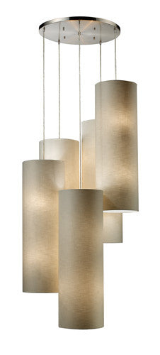 ELK Lighting 20160-20R Fabric Cylinder 20-Light Round Pendant In Satin Nickel - ELKLightingCenter