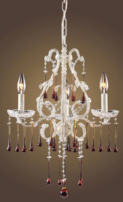 ELK Lighting Lighting 4001-3Amb Three Light Chandelier In Antique White And Amber Crystal - ELKLightingCenter