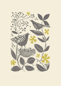 Blackbirds in the Hedgerow Print by sam Wilson