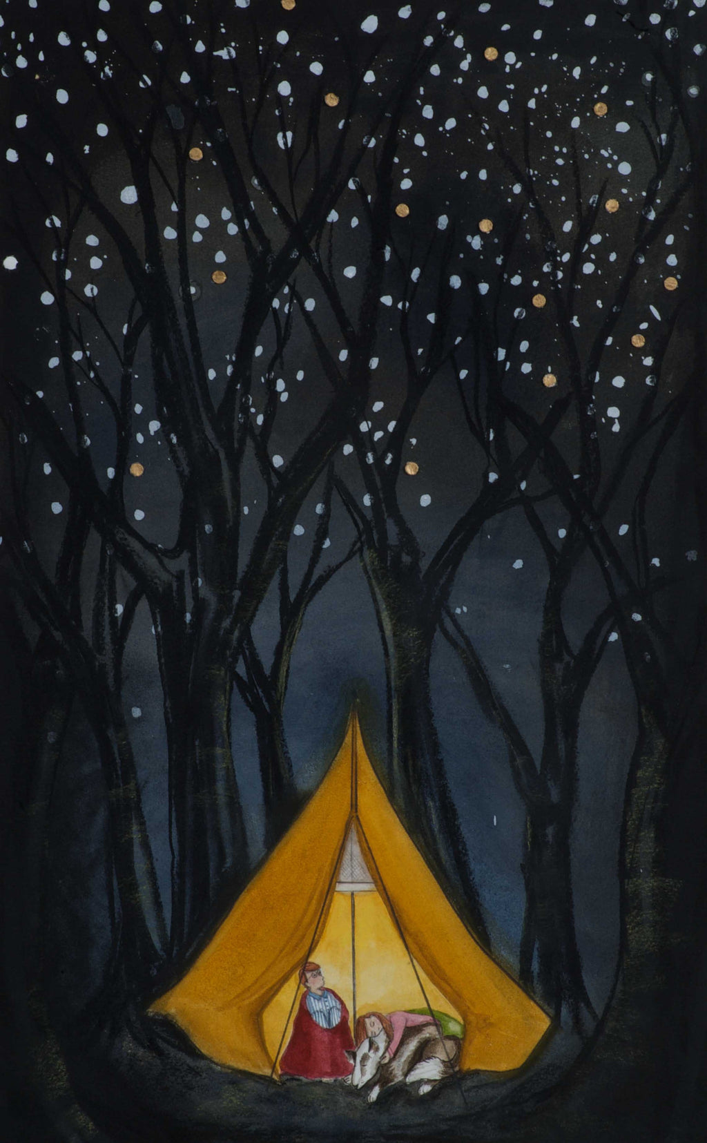 Camping in the Forest at Night Print by Victoria Brook