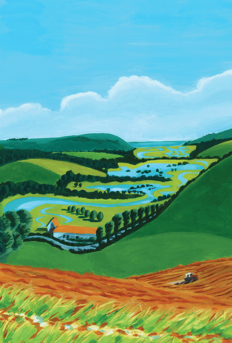 The Flooded Cuckmere from the Rathfinny Estate Print by Sarah Gregson