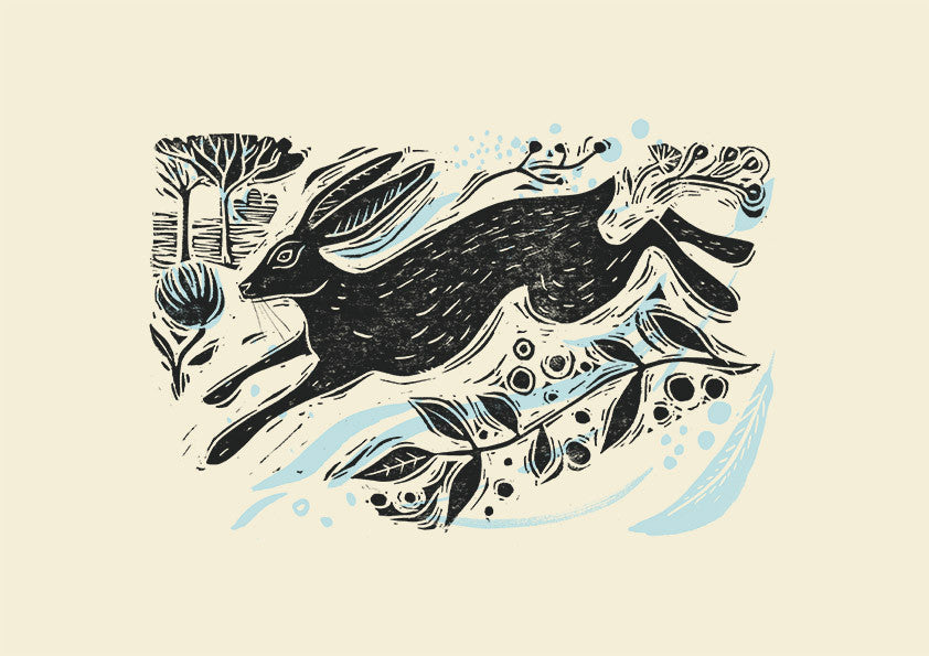 Running Hare Print by Sam Wilson