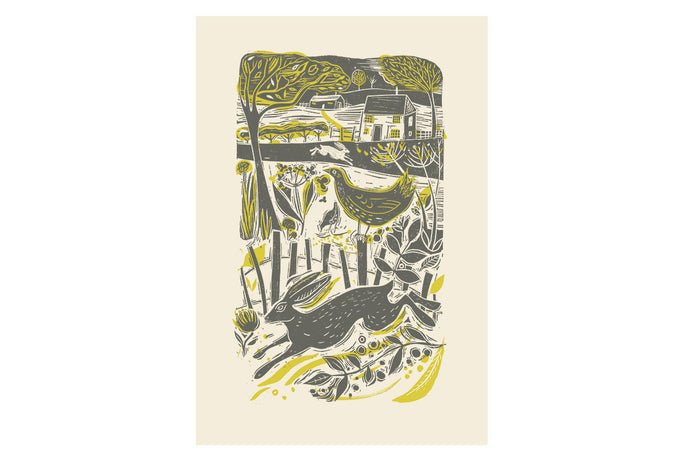 Running Hare in the Countryside Print by Sam Wilson