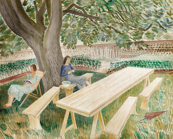 Two Women in the Garden Print by Eric Ravilious