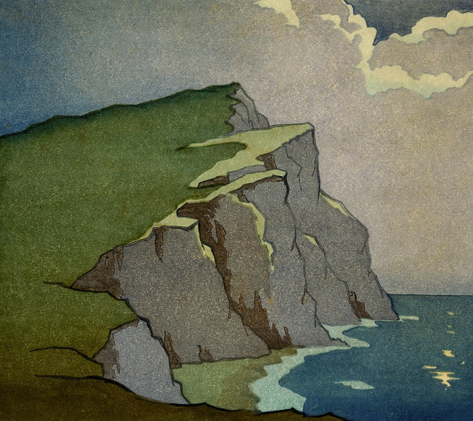 The Headland by Moonlight (1930) Print by Eric Slater