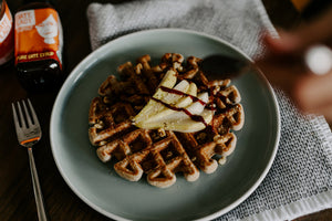 Date syrup on waffles