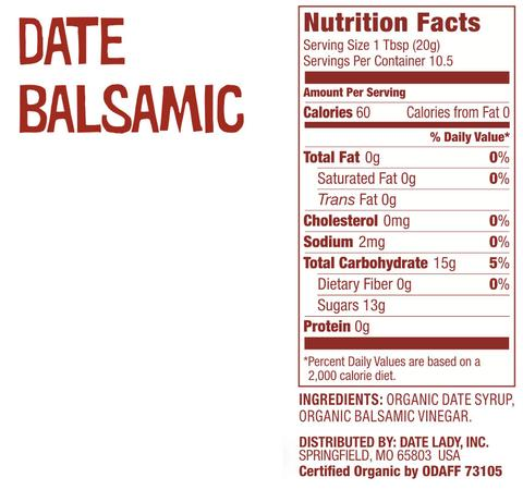 Date Lady Balsamic Date Vinegar Nutrition Label