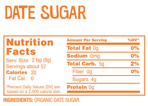 Date Lady Date Sugar Nutrition Label