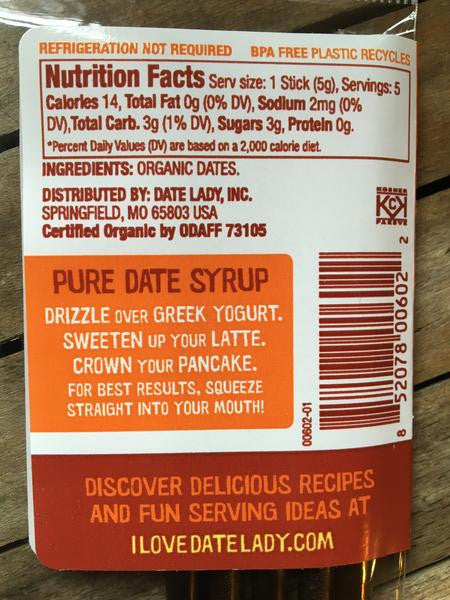 date lady date syrup nutrition