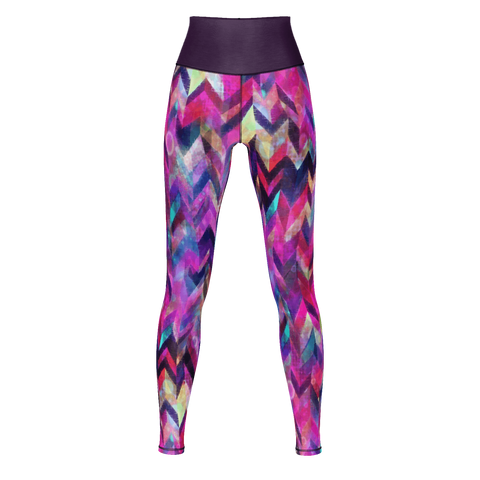 COLORFUL CHEVRON CHAOS PATTERN Yoga Pants