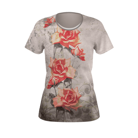 Vintage Red Rose Grunge Women's T-Shirt