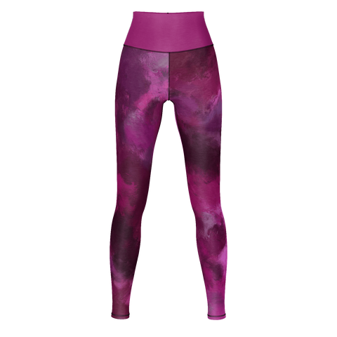 DARK MAGENTA STORM OIL PAINTING Yoga Pants