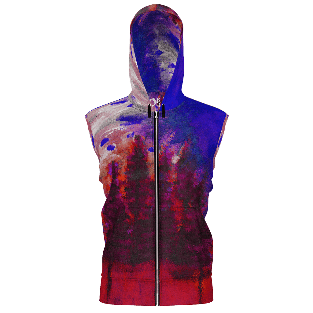 Red Forest Men's Sleeveless Zip 2 Panel Lined Hoodie 350GSM