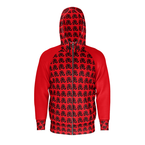 RED sleeveless print zipper hoodie