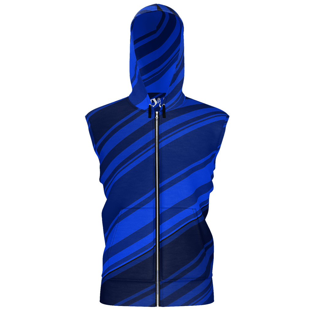 Black/Blue Diagonal Striped Men's Sleeveless Zip 2 Panel Lined Hoodie 350GSM