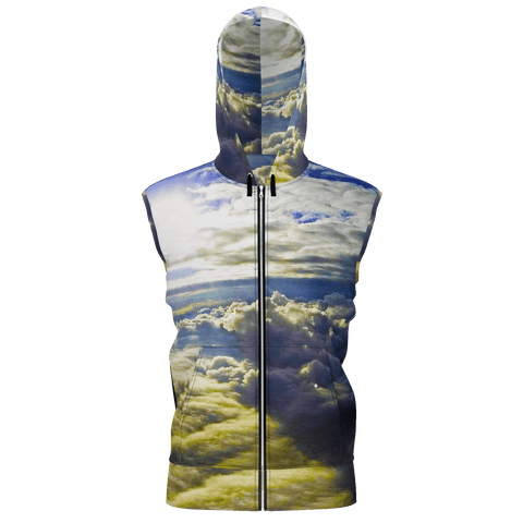Above the Clouds Men's Sleeveless Zip 2 Panel Lined Hoodie 350GSM
