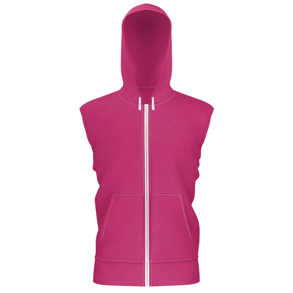 Beetroot Purple Sleeveless Zip 2 Panel Lined Hoodie (350GSM)