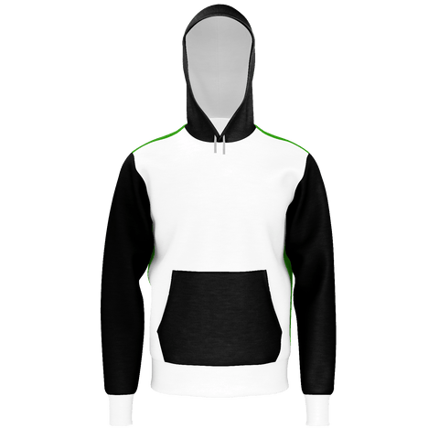 black,white,green sweatshirt