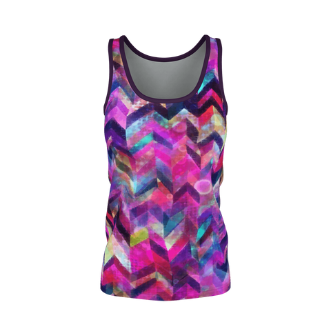 COLORFUL CHEVRON CHAOS PATTERN Tank Top