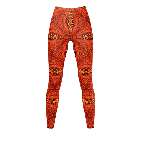 Orange African Pattern Leggings