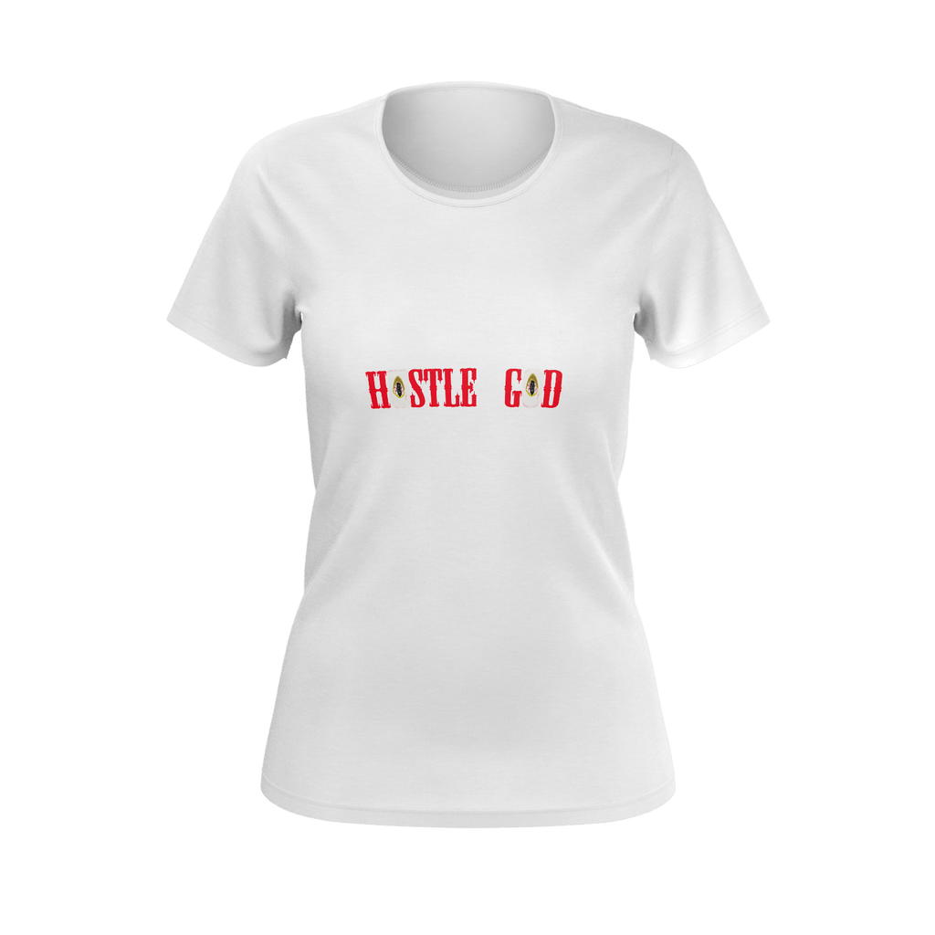 HUSTLE GOD WOMENS T WHT