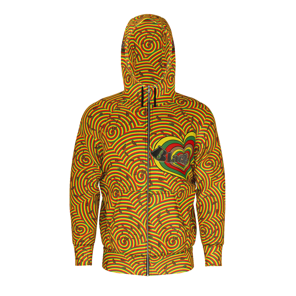 Black Love Heart - Spiral Hearts : Zipper Jacket Hoodie