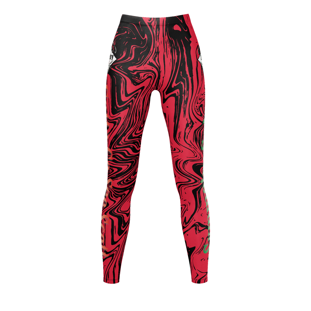 Women's Leggings Red Marble
