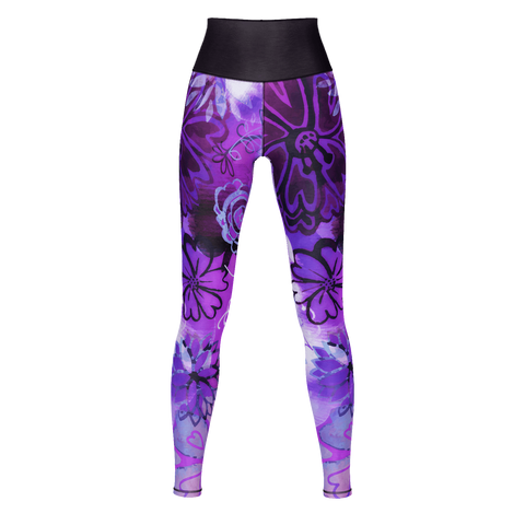 GRUNGE URBAN PURPLE FLOWERS Yoga Pants