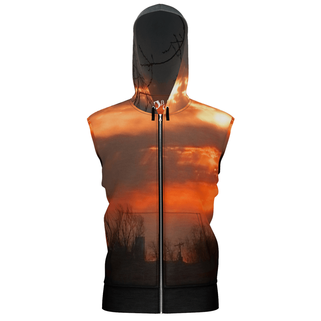 Red Sunrise Men's Sleeveless Zip 2 Panel Lined Hoodie 350GSM