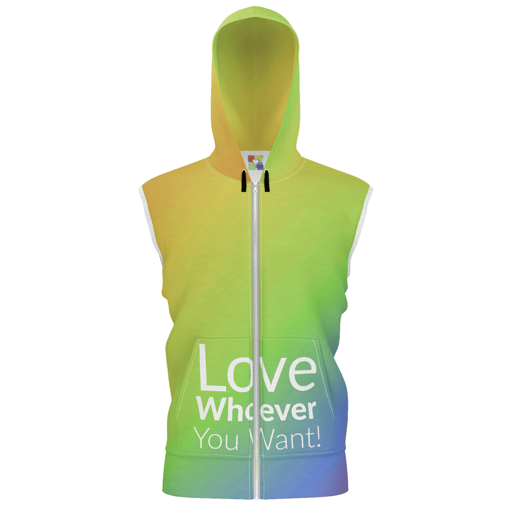 "Unisex: ""Love Whoever You Want (2018)"" Sleeveless Zip Hoodie"