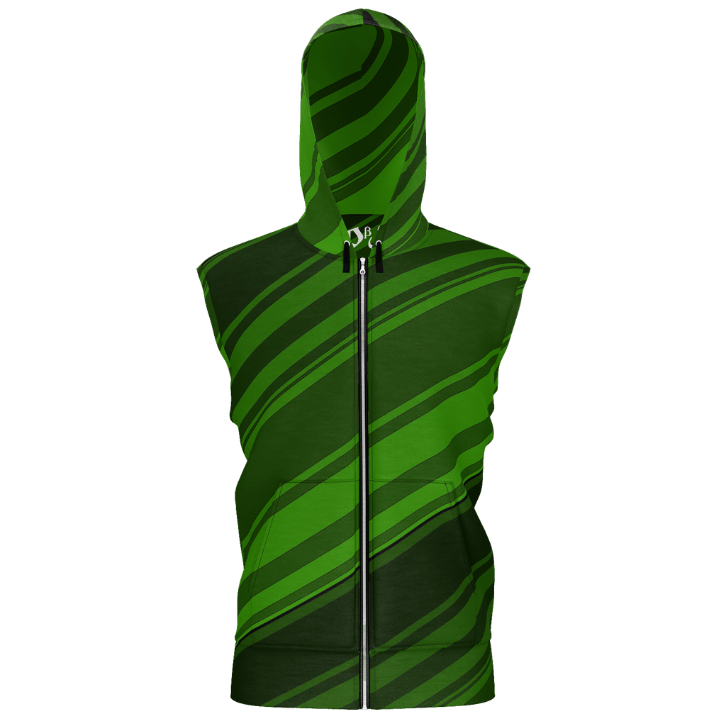 Black/Green Diagonal Striped Men's Sleeveless Zip 2 Panel Lined Hoodie 350GSM