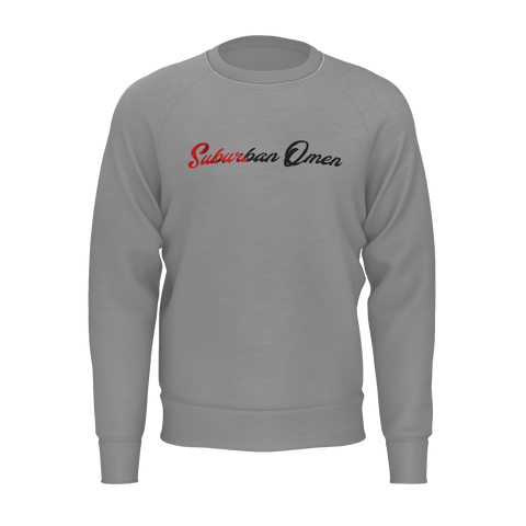Suburban Omen Script Sweatshirt (red/grey)
