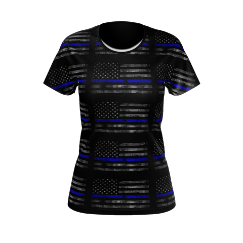 WOMANS FADED AMERICAN FLAG WITH THIN BLUE LINE T-SHIRT
