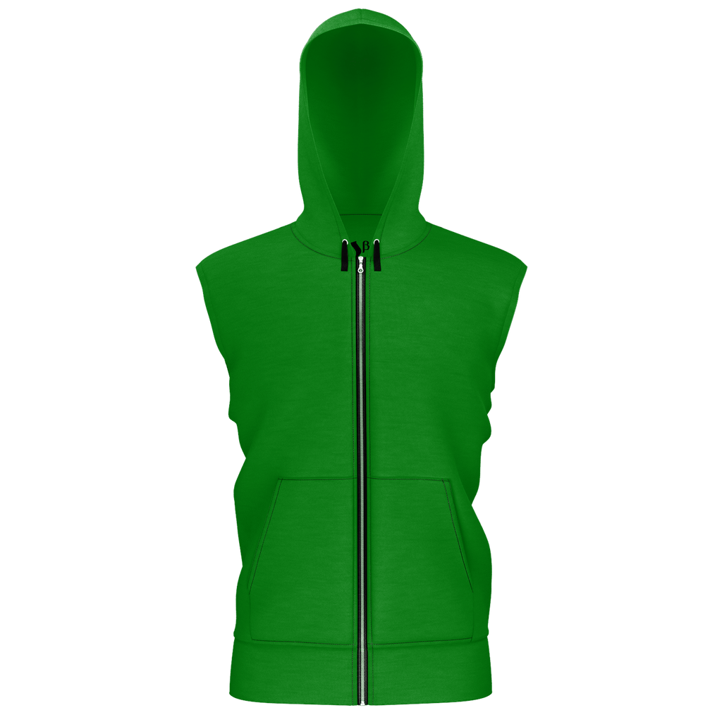 #StayHome Men's Sleeveless Zip 2 Panel Lined Hoodie 350GSM(Green 2)