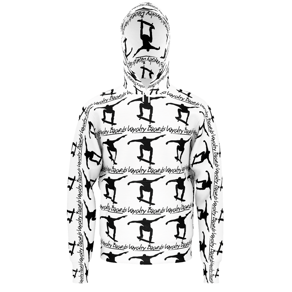 Loyalty Boards Silhouette Pattern Fill On White Hoodie