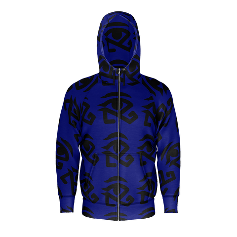 Navy Blue Zippe Hoodie with full Logo