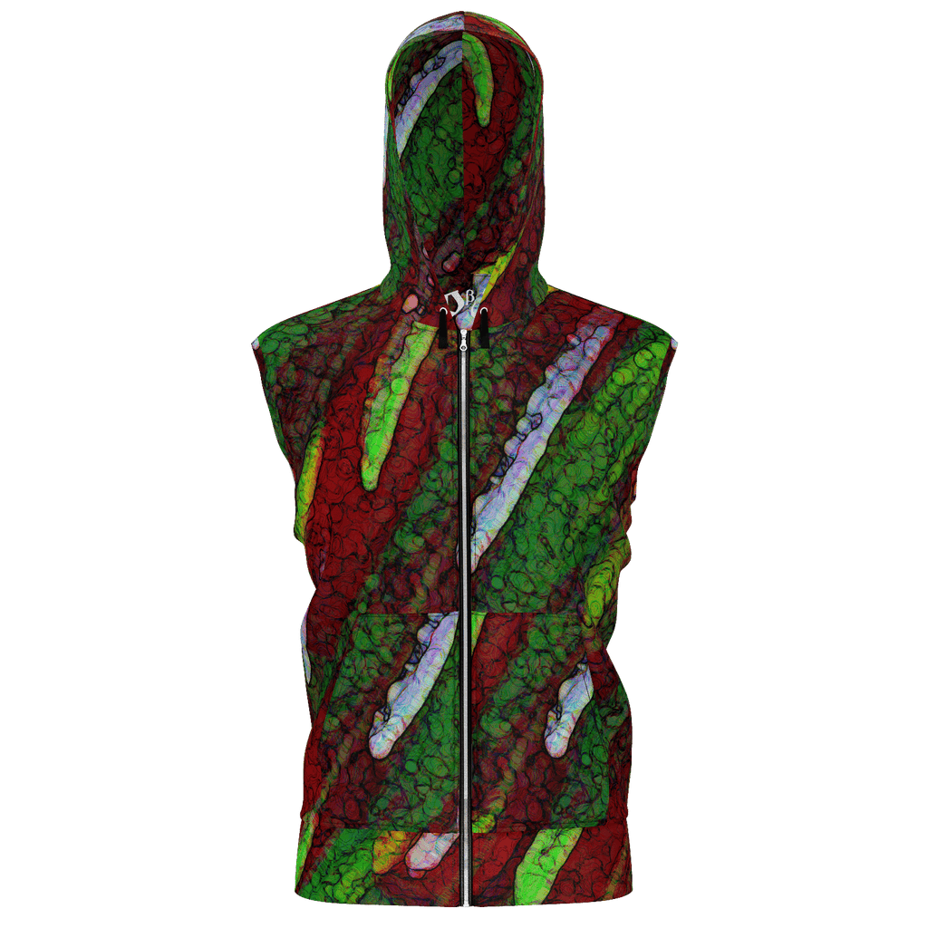 Red Paint Daubs Men's Sleeveless Zip 2 Panel Lined Hoodie 350GSM