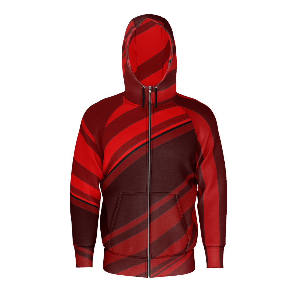 Black/Red Diagonal Striped Men's Raglan Zip Hoodie 260GSM Cotton