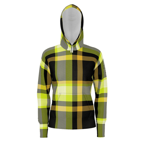 Yellow & Black Checkered Pattern  Hoodie