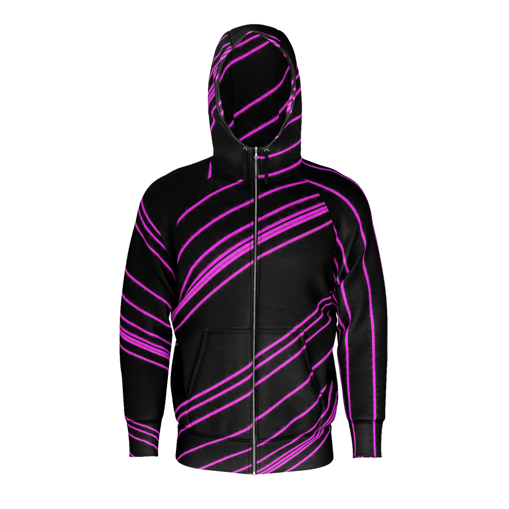 Pink/Black Diagonal Striped Men's Raglan Zip Hoodie 260GSM Cotton